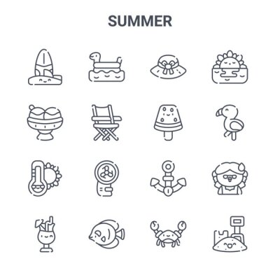 set of 16 summer concept vector line icons. 64x64 thin stroke icons such as rubber ring, ice cream, flamingo, anchor, fish, sand, crab, watermelon, sunset