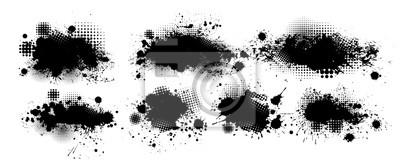 Tapeta Set of blots. Black spots of paint on a white background. Grunge frame of paint. Vector illustration.