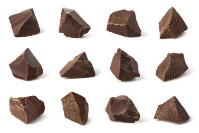 Set of broken dark chocolate pieces
