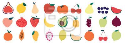Tapeta Set of colorful fruit icons ,banana, apple, pear, strawberry, orange, peach, plum, watermelon, pineapple, papaya, grapes, cherry, lemon, mango. Vector illustration, isolated on white.