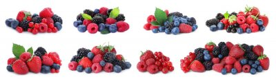 Tapeta Set of different mixed berries on white background, banner design