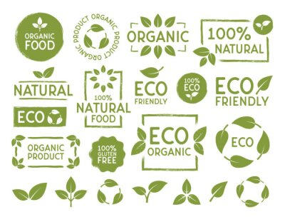 Tapeta Set of Eco, bio, organic and natural products stickers, labels, badges and logos. Ecology icons set. Logo templates with green leaves for organic and eco friendly products. Vector illustration
