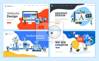 Tapeta Set of flat design web page templates of graphic design, website design and development, social media, business service. Modern vector illustration concepts for website and mobile website development