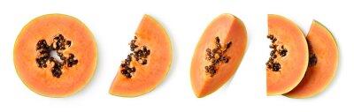 Set of fresh ripe papaya fruit slices