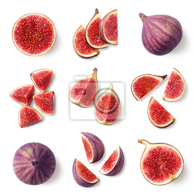 Set of fresh whole and sliced figs