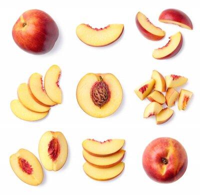 Set of fresh whole and sliced nectarine fruit