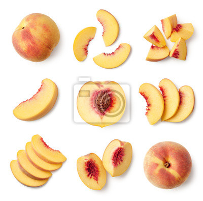 Set of fresh whole and sliced peach fruit