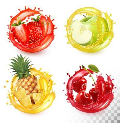 Tapeta Set of fruit juice splash. Strawberry, pineapple, apple, cherry. Vector