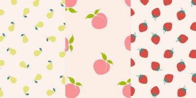 Tapeta Set of fruit seamless vector pattern. Pear, peach, strawberry pattern.
