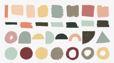 Tapeta Set of hand drawn organic textured shapes