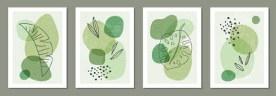 Tapeta Set of minimal posters with abstract organic shapes composition in trendy contemporary collage style
