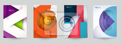 Tapeta Set of minimal template in paper cut style design for branding, advertising with abstract shapes. Modern background for covers, invitations, posters, banners, flyers, placards. Vector illustration.