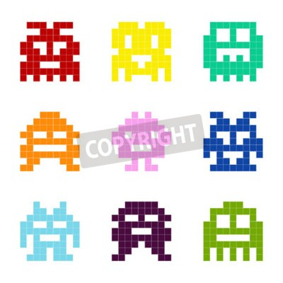 Tapeta Set of monochrome icons with pixel monsters for your design