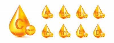 Tapeta Set of Multi Vitamin complex icons. Multivitamin supplement. Vitamin A, B group B1, B2, B3, B5, B6, B9, B12, C, D, D3, E, K, H, K1, PP. Essential vitamin complex. Healthy life concept