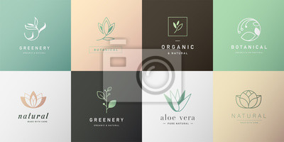 Tapeta Set of natural and organic logo in modern design. Natural logo for branding, corporate identity, packaging and business card.