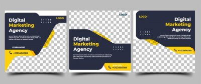 Tapeta Set of Social media post templates for business promotion. Modern banner with a black background and yellow accents.