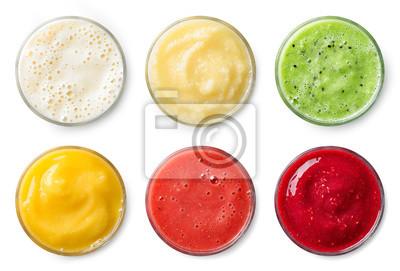 Set of various fresh fruit smoothies