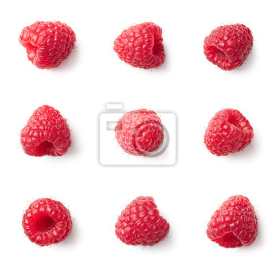 Set of various raspberries isolated on white background