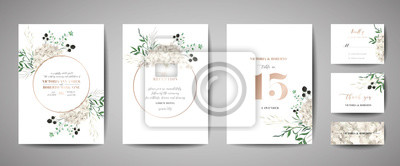 Tapeta Set of Wedding Invitation, floral invite, thank you, rsvp rustic card design with gold foil decoration. Vector elegant modern template, trendy cover, graphic poster, retro brochure, design template