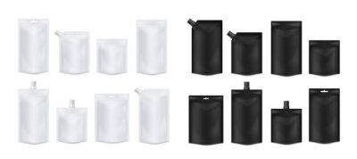 Tapeta Set of white and black blank doy packs, realistic vector illustration isolated.