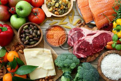 Tapeta sfondo cibo, tavolo con prodotti alimentari, na alimentazione e dieta completa