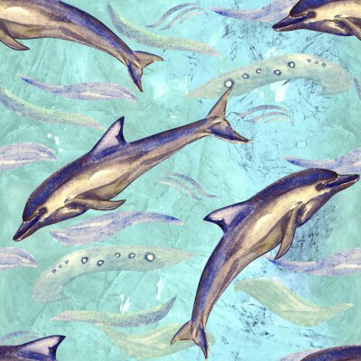 Tapeta Short-beaked common dolphin, hand painted watercolor illustration, seamless pattern on blue, green ocean surface with waves background