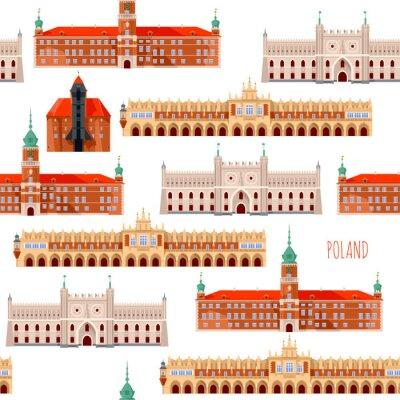 Tapeta Sights of Poland. Krakow, Cloth Hall, Lublin, Castle, Gdansk, Crane, Warsaw, Royal Castle.  Seamless background pattern.