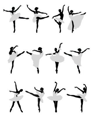 Tapeta Silhouettes ballerinas na białym tle