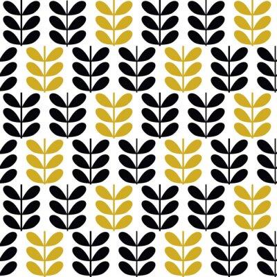 Tapeta Skandynawska sztuka ludowa bezszwowe wektor wzór z roślin w stylu minimalistycznym