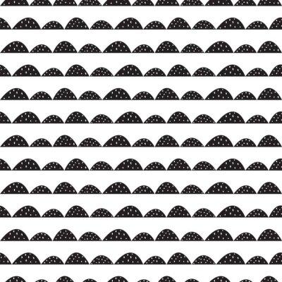 Tapeta Skandynawski bez szwu czarno-biały wzór w parze narysowanych stylu. Stylizowane rzędy Hill. Fala prosty wzór do tkanin, tkanin i bielizny niemowlęcej.