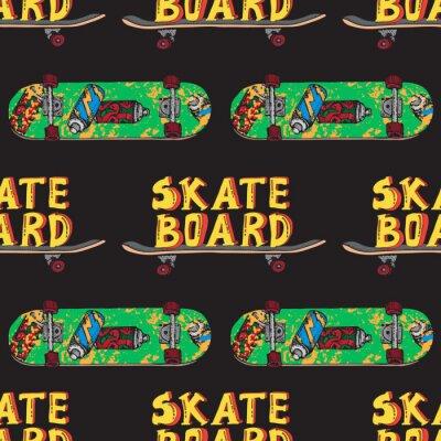 Tapeta Skateboard  seamless pattern. Doodle Longboard, pennyboard. Lettering skateboard. Hand drawn vector illustration for poster, t-shirt, textile