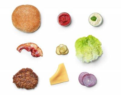 Tapeta Składniki dla hamburgeru na białym tle, mieszkanie nieatutowy