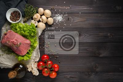 Tapeta Składniki do gotowania mięsa, widok z góry