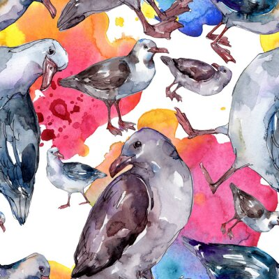Tapeta Sky bird seagull in a wildlife isolated. Watercolor background illustration set. Seamless background pattern.