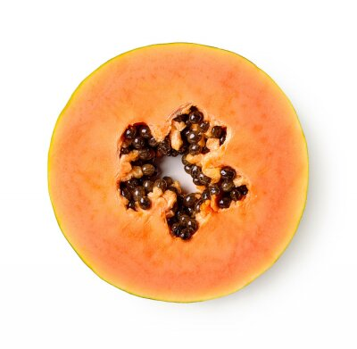 Slice of fresh ripe papaya fruit