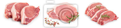 Tapeta sliced raw pork meat isolated on white background. Top view. Flat lay. Set or collection