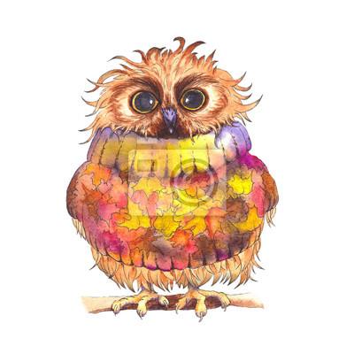 Tapeta Śliczna mała sowa jest ubranym jesień pulower. Akwarela ilustracja.