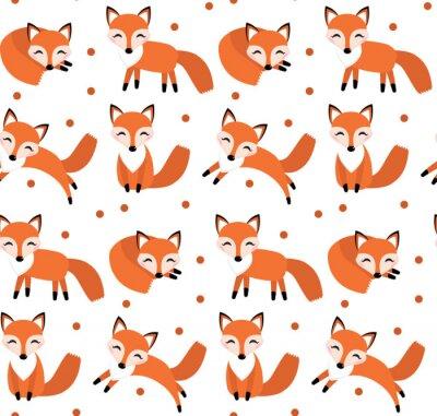 Tapeta Śliczne Fox szwu. Foxy nieskończone tło, tekstury. Children s tło. ilustracji wektorowych
