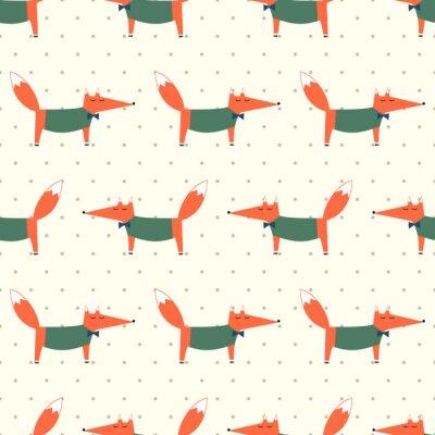 Tapeta Śliczne Fox szwu na kropki tle. Ilustracja Cartoon Foxy wektorowych. Dzieci rysunek styl tła zwierząt. projektowanie mody do tkanin, wyrobów włókienniczych.