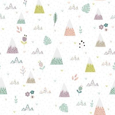 Tapeta Śliczne góry, rośliny i kwiat krajobrazowy bezszwowy wzór. Tło dla dzieci. Ilustracji wektorowych