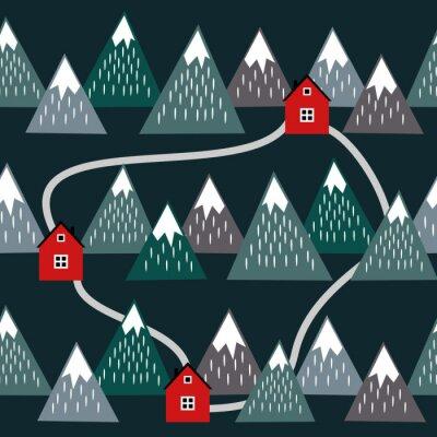 Tapeta Śliczne islandzki krajobraz z domów i górami. Jednolite wzór z geometrycznych ośnieżonych gór i domów. Kolorowe Islandia charakter ilustracji. Wektor góry w tle.