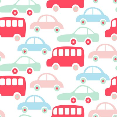 Tapeta Śliczne kolorowe autobusy i samochody bez szwu tapety wzór.