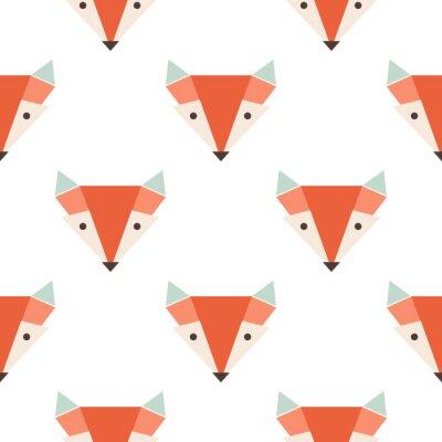 Tapeta Śliczne lisy szwu wektor wzorca. Głowica pomarańcza lisa na białym backgroun