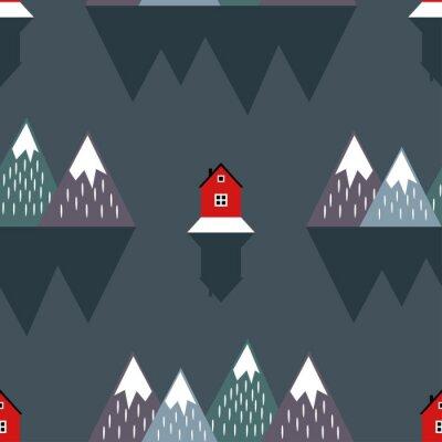 Tapeta Śliczne Nordic krajobraz z domami, góry, morze i refleksji. Jednolite wzór z geometrycznych ośnieżonych gór i domów. Kolorowe skandynawskich charakter ilustracji. Wektor góry w tle.