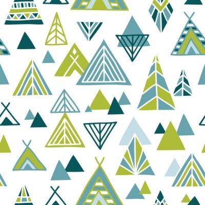 Tapeta Śliczne ręcznie rysowane bez szwu deseń w stylu etnicznym. North American krajobraz streszczenie ilustracji. Vector tle.
