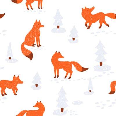 Tapeta Śliczne zwierzątko bezszwowe wzór. Ilustracji wektorowych. z lisem w zimowym lesie.