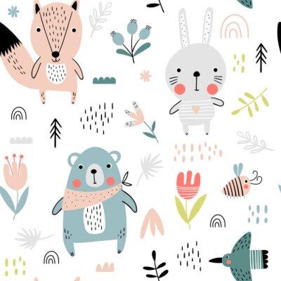 Tapeta Śliczne zwierzęta leśne wzór