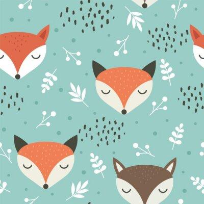 Tapeta Ślicznego lisa bezszwowy wzór, wilcza ręka rysujący lasowy tło z kwiatami i kropki, wektorowa ilustracja