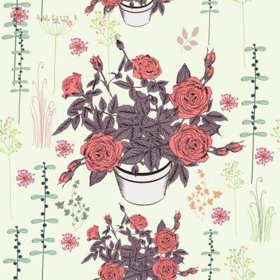 Tapeta Ślicznej wektor róży kwiecisty wzór w wieśniaka stylu