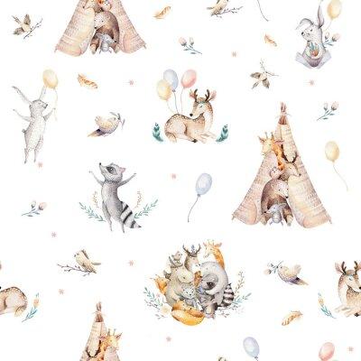 Tapeta Śliczni rodzinni dziecko raccon, rogacz i królik. żyrafa zwierząt przedszkole i opatrzone ilustracja na białym tle. Akwarela boho raccon rysunek przedszkola wzór. Tło dla dzieci, druk przedszkola